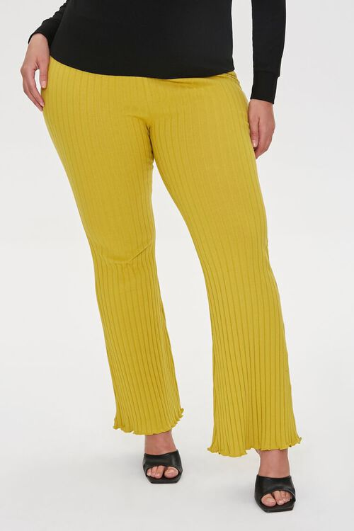 Plus Size Ribbed Flare Pants, image 2