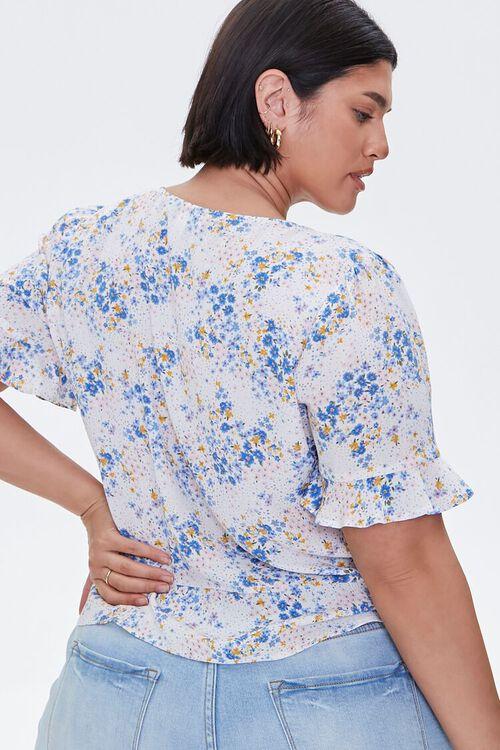 Plus Size Floral Print Buttoned Top, image 4