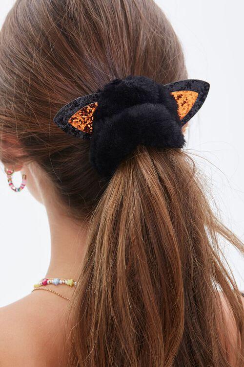 BLACK Plush Cat Ear Hair Scrunchie, image 2