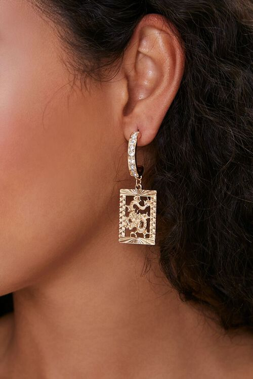 Dragon Pendant Hoop Earrings, image 1