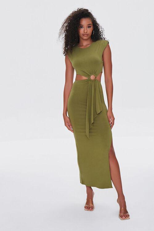 BROWN O-Ring Cutout Maxi Dress, image 1