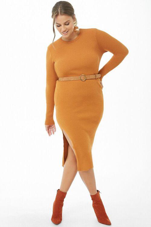 Plus Size Belted Midi Dress, image 1