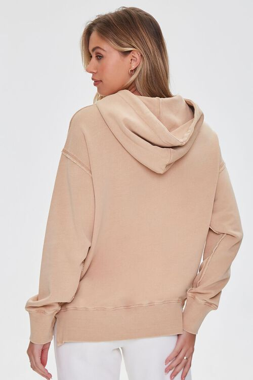 TAUPE French Terry Drop-Sleeve Hoodie, image 3