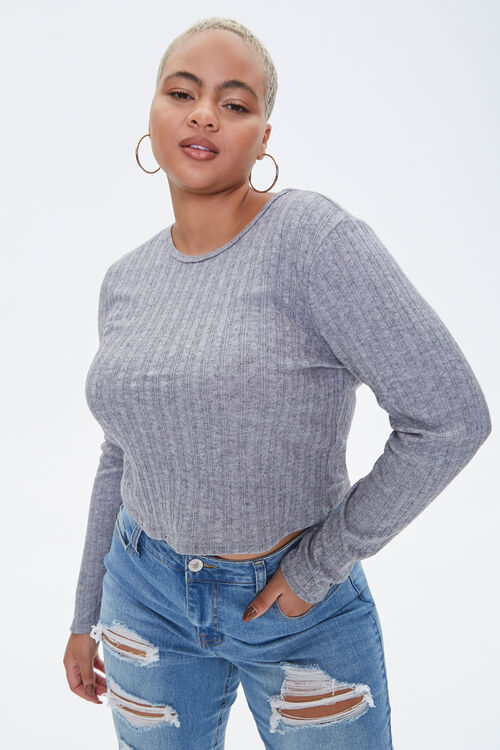 Plus Size Ribbed Long-Sleeve Top, image 1