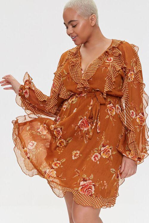 Plus Size Ruffled Rose Print Dress, image 6