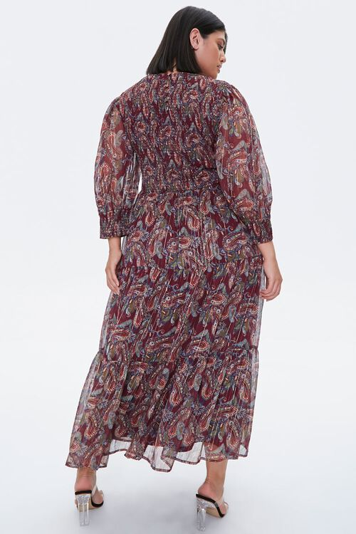 Plus Size Paisley Smocked Dress, image 3