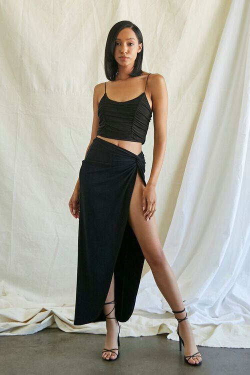 Ruched Mesh Cropped Cami, image 4