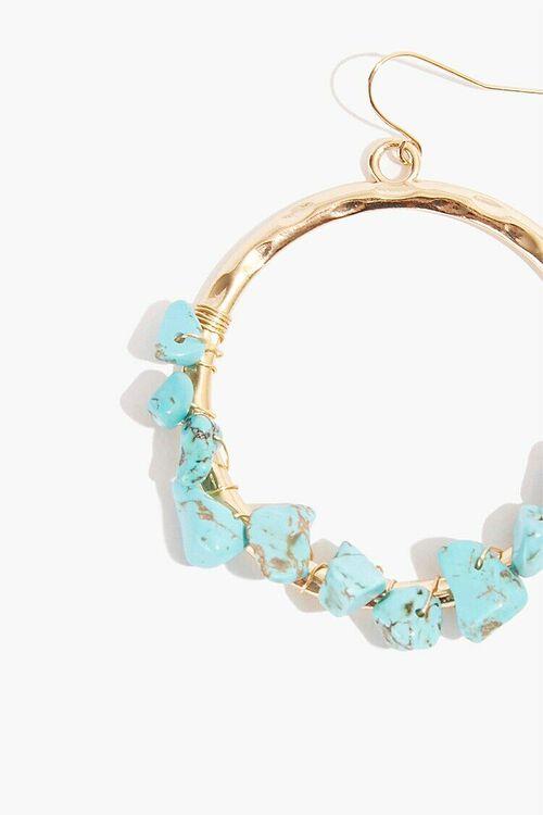 TEAL/GOLD Drop Hoop Stone Earrings, image 2