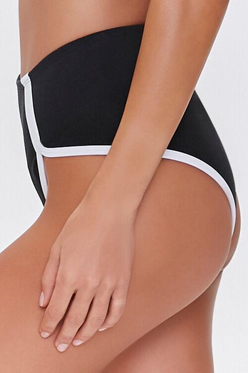 Contrast-Trim High-Waist Bikini Bottoms, image 3