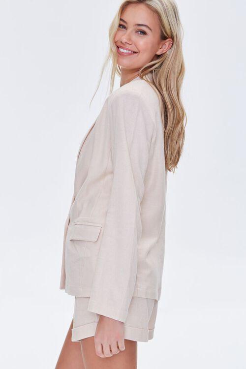 BEIGE Double-Breasted Linen Blazer, image 3