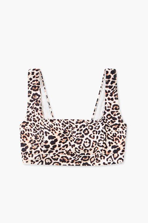 TAN/BLACK Plus Size Leopard Print Bikini Top, image 4