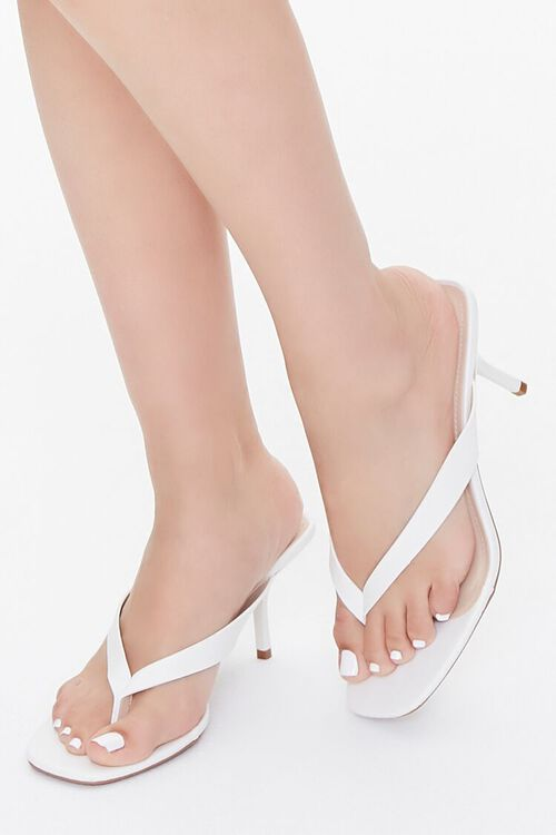 Faux Leather Toe-Thong Heels, image 1