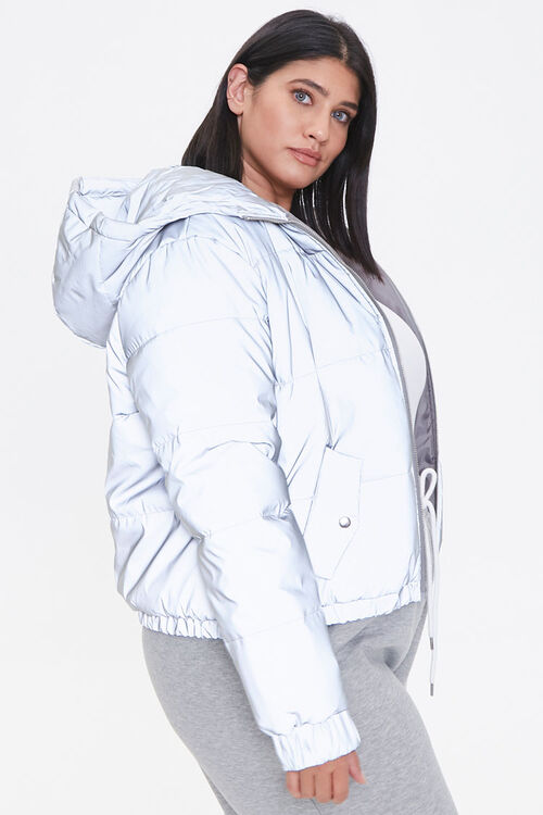 Plus Size Reflective Zip-Up Windbreaker, image 2