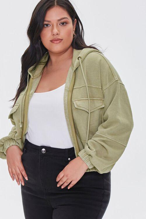 Plus Size Hooded Flap-Pocket Jacket, image 1
