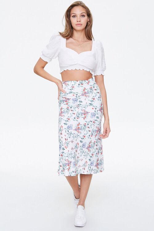 Floral Satin A-Line Skirt, image 5
