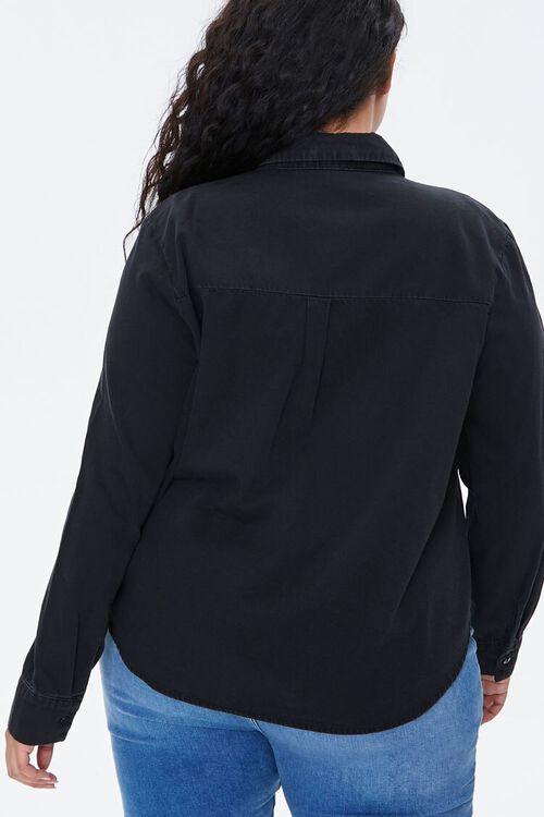 WASHED BLACK Plus Size Cotton Curved Shirt, image 3