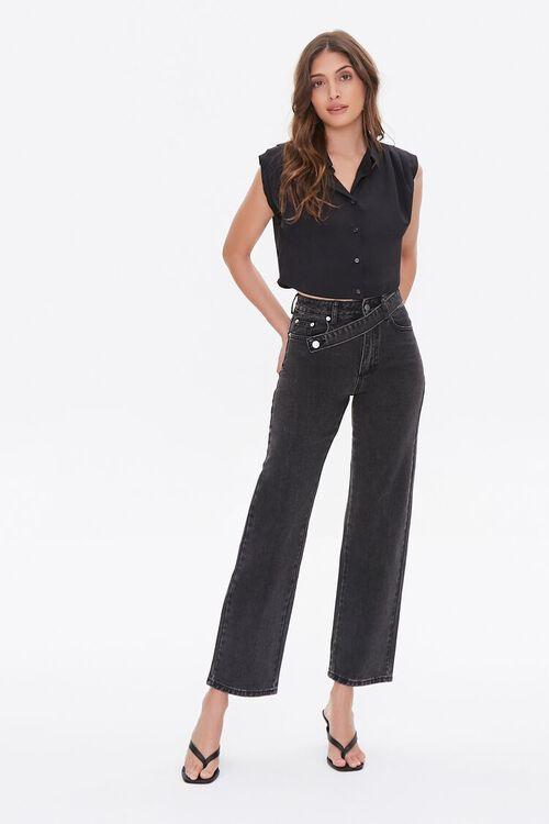 Crisscross Belt Straight-Leg Jeans, image 1