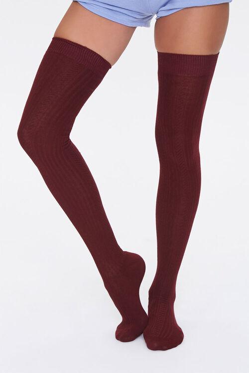 Shadow-Striped Thigh-High Socks, image 1