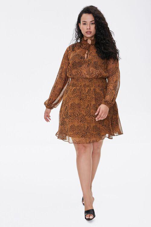 BROWN/BLACK Plus Size Leopard Print Chiffon Dress, image 4