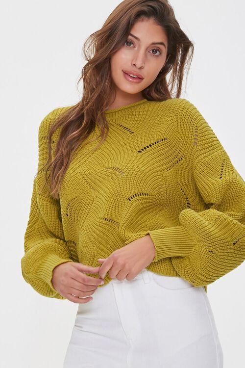 Scalloped Balloon-Sleeve Sweater, image 1