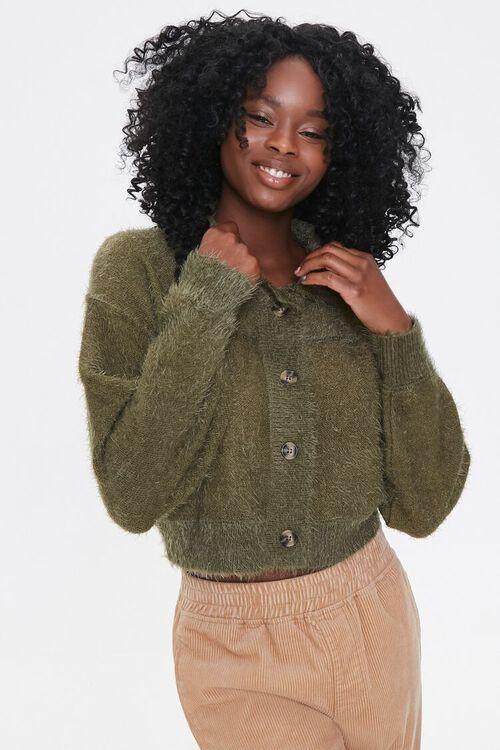 Fuzzy Knit Cardigan Sweater, image 1