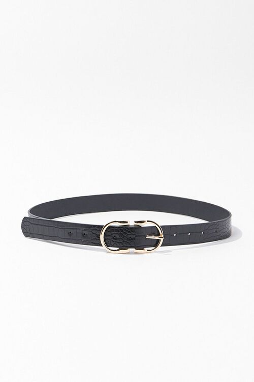 Faux Croc Leather Waist Belt, image 1