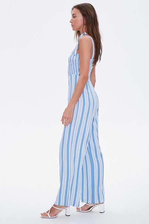 Striped Wide-Leg Smocked Jumpsuit, image 2