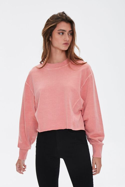 PINK French Terry Drop-Sleeve Top, image 1