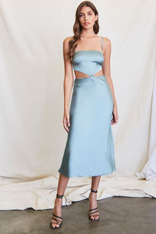 SEAFOAM Cutout Satin Midi Dress, image 4