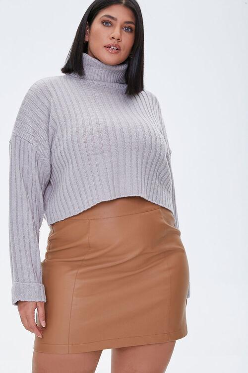 Plus Size Ribbed Turtleneck Sweater, image 1