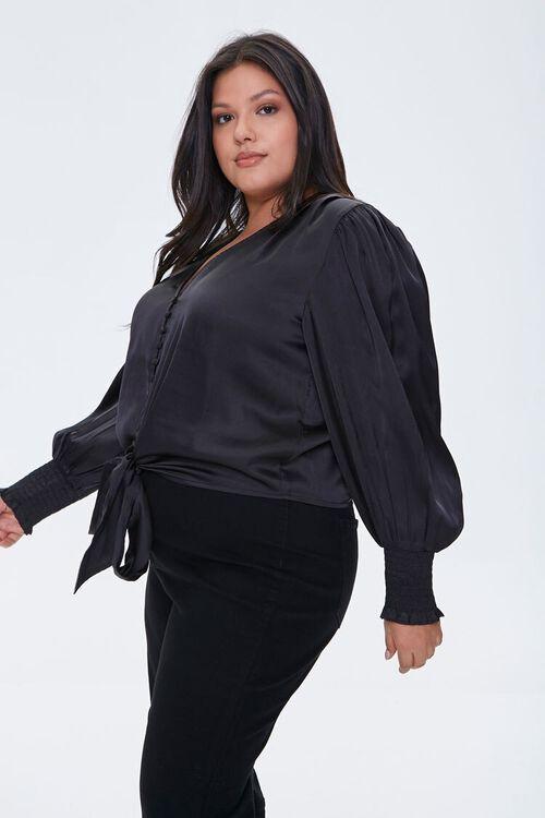 BLACK Plus Size Satin Tie-Front Top, image 2