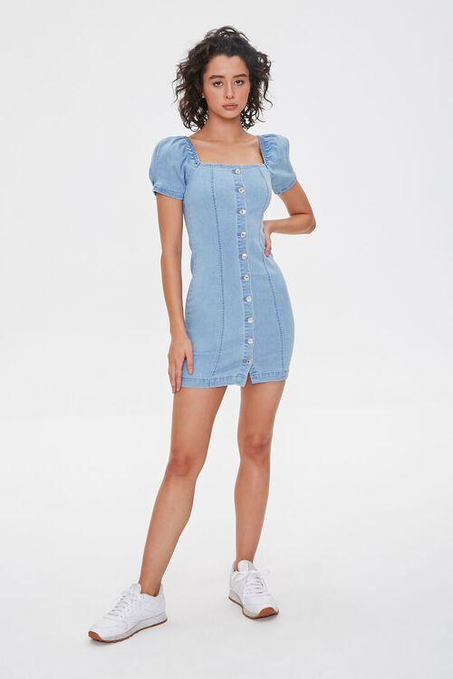 Chambray Puff-Sleeve Sheath Dress, image 4