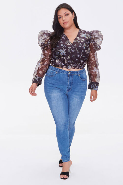 Plus Size Sheer Floral Print Top, image 4