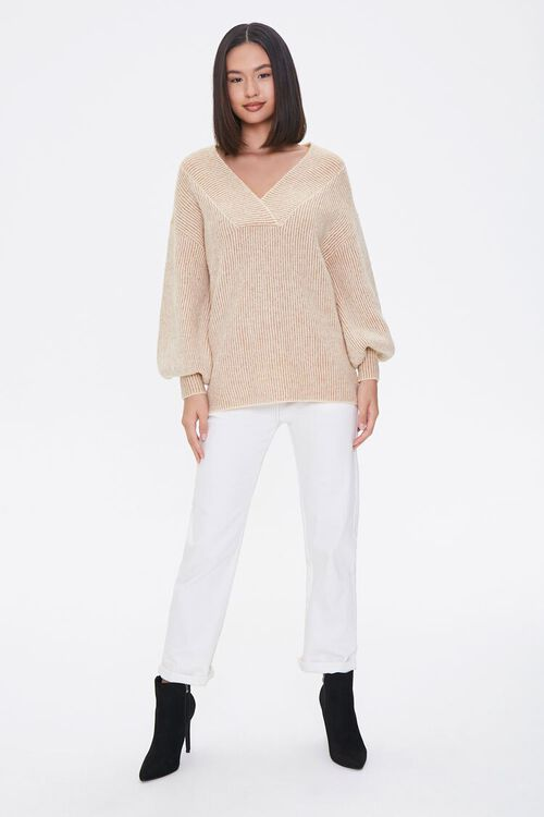 Ribbed Surplice Sweater, image 4