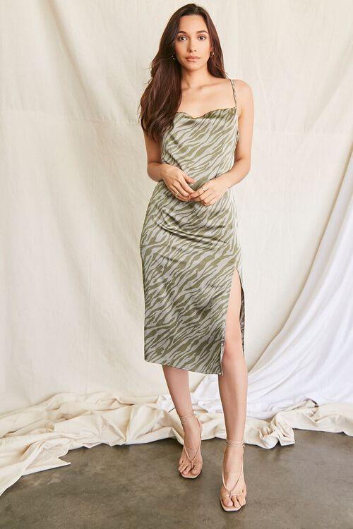 GREEN/MULTI Tiger Print Slip Dress, image 4