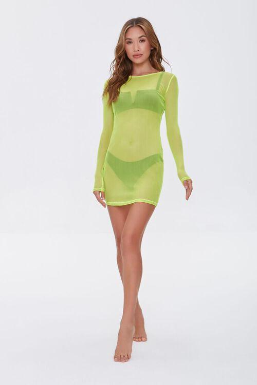 LIME Sheer Swim Cover-Up Mini Dress, image 4