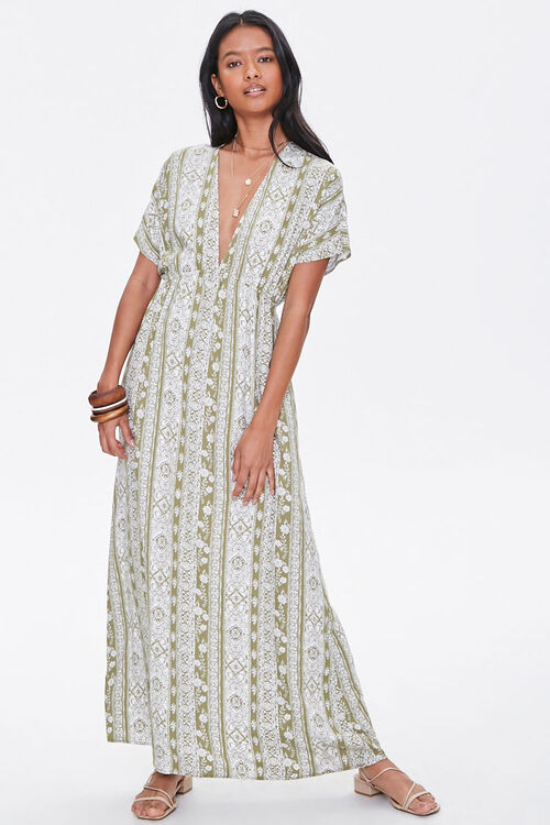 Plunging Floral Maxi Dress, image 1
