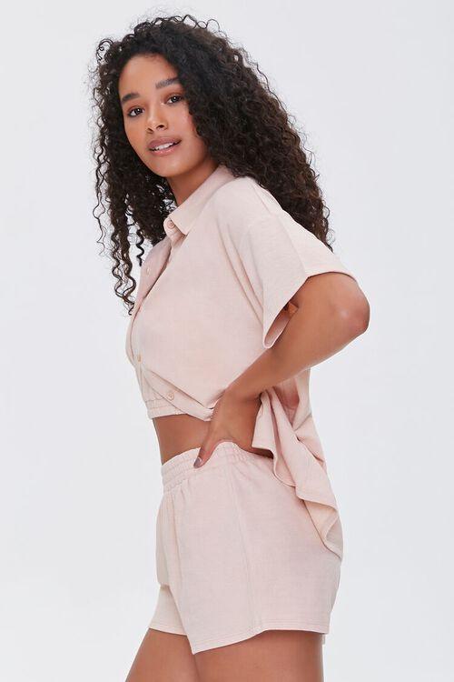 Terry Cloth Shirt Cami & Shorts Set, image 2