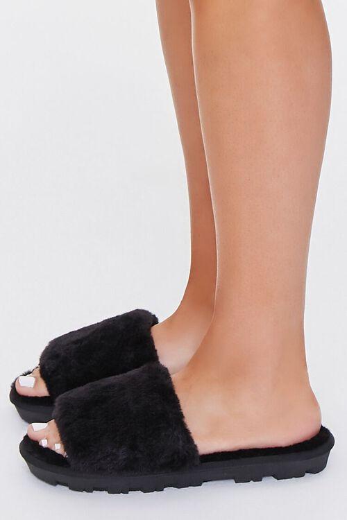 BLACK Faux Fur Lug Sole Slippers, image 2