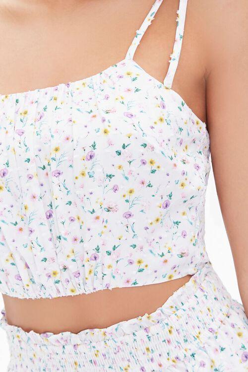WHITE/MULTI Floral Tie-Strap Cropped Cami, image 5