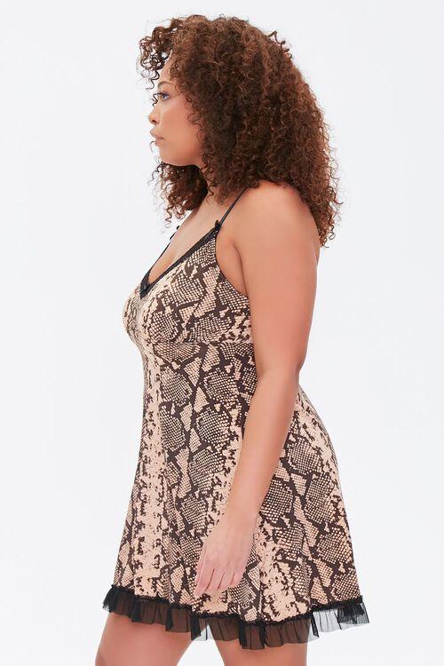 Plus Size Snakeskin Print Slip Dress, image 2