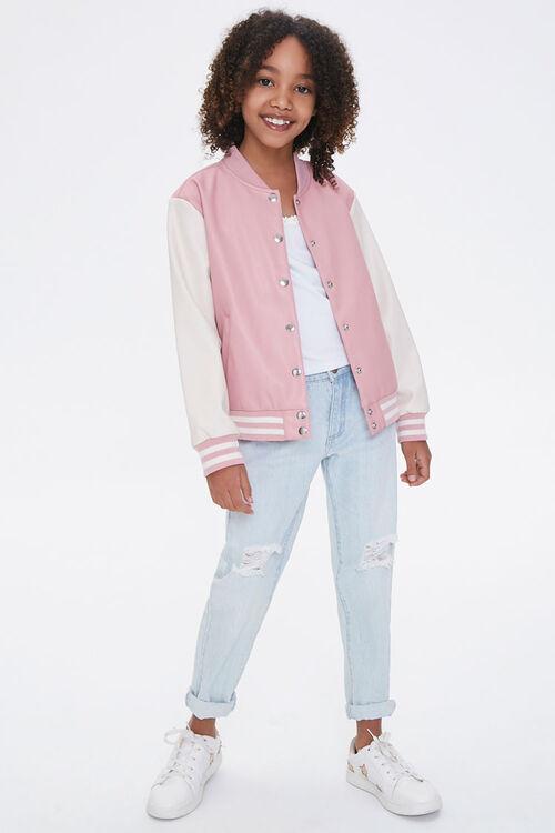 Girls Faux Leather Varsity Jacket (Kids), image 4
