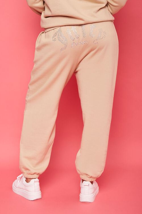 TAN/MULTI Plus Size Juicy Couture Fleece Joggers, image 5