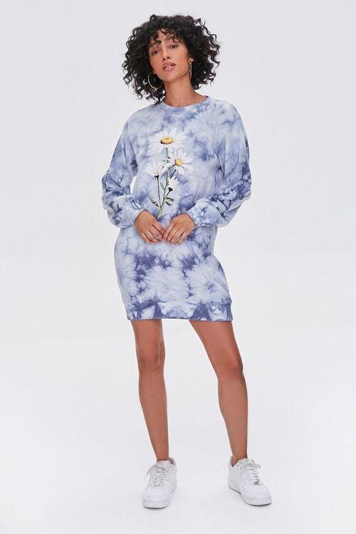 BLUE/MULTI Tie-Dye Floral Graphic Dress, image 4