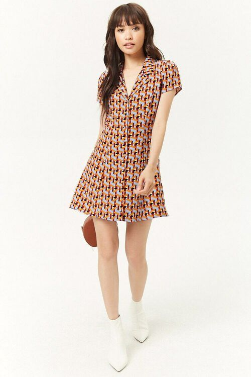 Multicolor Geo Print Mini Dress, image 4