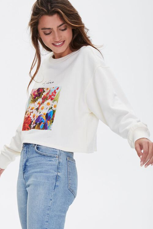 Floral Graphic Boxy Sweatshirt, image 1