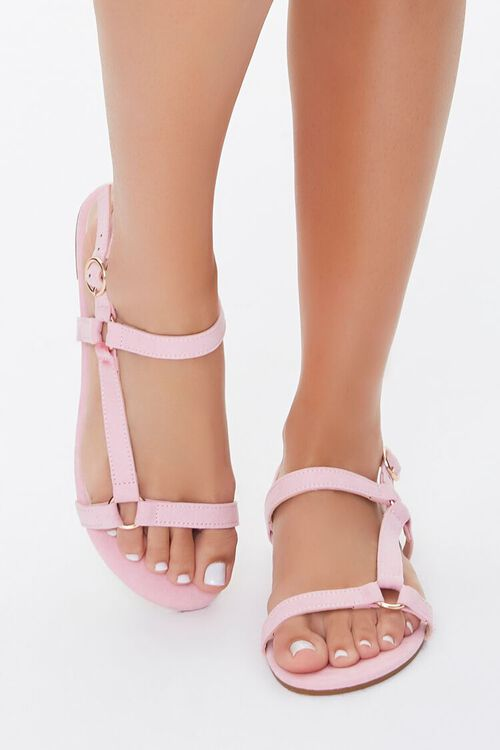 Faux Suede Caged Sandals, image 2