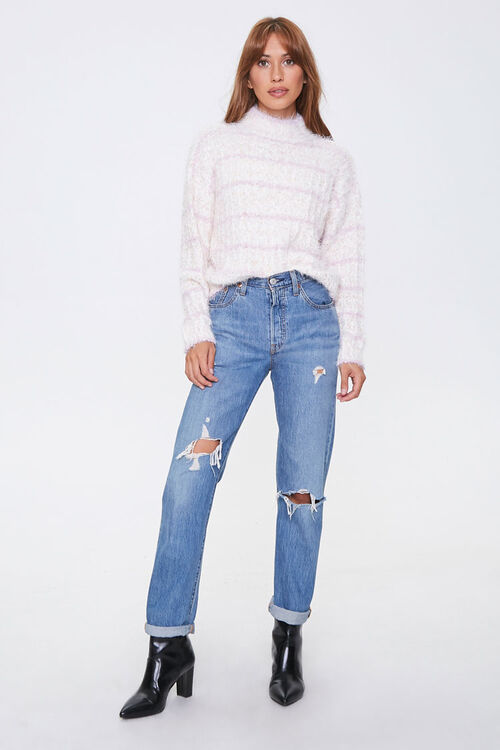 Striped Fuzzy Knit Sweater, image 4