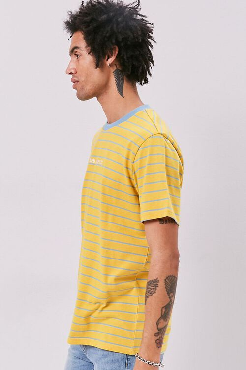 YELLOW/BLUE Bad Influence Embroidered Graphic Striped Tee, image 2
