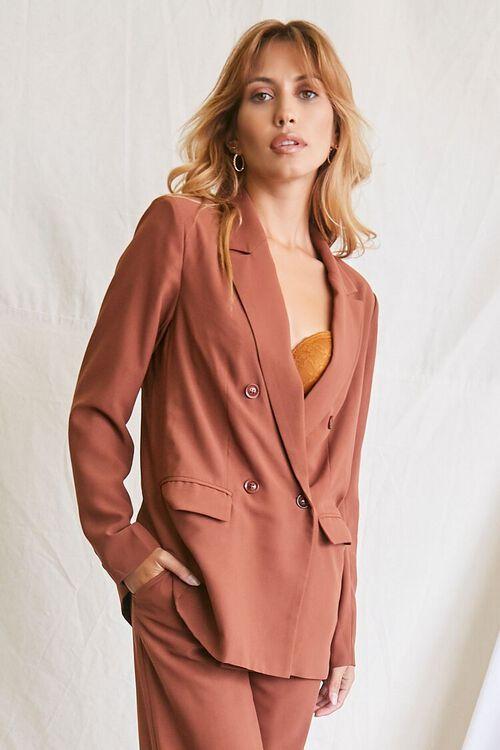 DARK BROWN Double-Breasted Blazer & Pants Set, image 4